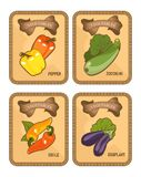 Gemüsekartensatz Stockfotos