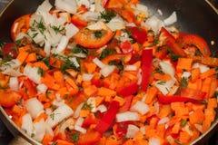 Gemüsemischung in der Bratpfanne lizenzfreies stockbild