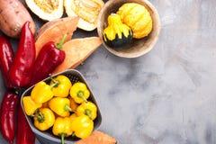 Gemüsepaprika gelb und rot, Kartoffeln und Kürbis auf einem grauen Hintergrund Die Ernte ist herbstlich Freier Raum für Text, Rah stockfotografie