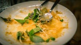 Gemüsereste in der schmutzigen Platte nachdem dem Essen lizenzfreies stockfoto