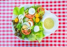 Gemüsesalat mit den gekochten Eischeiben, gedient auf einer weißen Platte mit Salatsoße auf eine Tabelle Stockbild