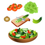 Gemüsesalat mit flachem Design Lizenzfreies Stockfoto