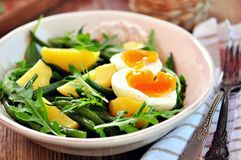 Gemüsesalat mit grünen Bohnen, Kartoffeln, Arugula, Eiern und Olivenöl Abbildung der roten Lilie Stockbilder