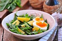 Gemüsesalat mit grünen Bohnen, Kartoffeln, Arugula, Eiern und Olivenöl Abbildung der roten Lilie Stockbild