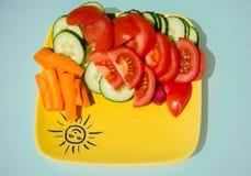 Gemüsesalat mit Sonne Lizenzfreie Stockfotos