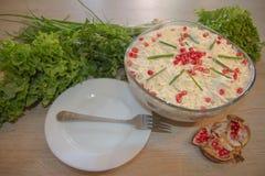 Gemüsesalatessigsoße Herrliche Essigsoße in einer Glasschüssel lizenzfreies stockbild