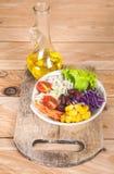 Gemüsesalatsatz des selbst gemachten neuen Frühlinges der Vitamine lizenzfreies stockbild