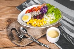 Gemüsesalatsatz des selbst gemachten neuen Frühlinges der Vitamine lizenzfreies stockfoto