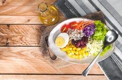 Gemüsesalatsatz des selbst gemachten neuen Frühlinges der Vitamine stockbild