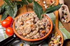 Gemüsesuppe mit Getreide und Hülsenfrüchte stockfotografie