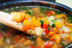 Gemüsesuppe mit Karotten, Paprika, Kartoffeln, Zwiebeln Stockbild