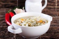 Gemüsesuppe mit Kohl, Kartoffeln und Karotte Lizenzfreies Stockbild