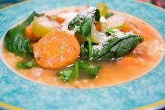 Gemüsesuppe mit Romano-Käse Lizenzfreies Stockbild