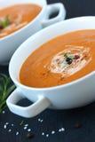 Gemüsesuppe mit sonnengetrockneten Tomaten und Creme Lizenzfreie Stockbilder