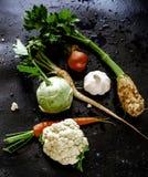 Gemüsesuppenbestandteile lizenzfreie stockfotos