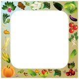 Gemüsevektorhintergrund mit Platz für Text, gesundes Lebensmittel t Stockbilder