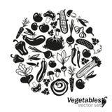 Gemüsevektorschwarzikonen auf weißem Hintergrund Stockfotografie