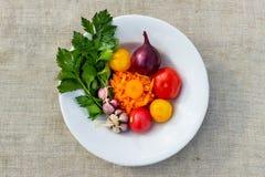 Gemüsezwiebeln, Sellerie, Tomaten, Knoblauch Stockbild