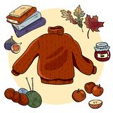 Gem?tlicher Gekritzelsatz des Herbstes Nette hygge Aufkleber stock abbildung