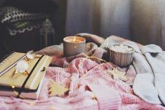 gemütlicher Herbst- oder Wintermorgen zu Hause Stilllebendetails mit Schale heißem Kakao, Kerze, Skizzenbuch mit Herbarium und wä lizenzfreie stockbilder