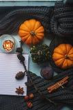 Gemütlicher Herbsthintergrund, Notizbuch, dekorative Kürbise, getrocknete Orangen, Kerze, Nüsse, Zimt und Herbstlaub Stockbild