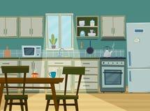 Gemütlicher Kücheninnenraum mit Möbeln und Ofen Stockfotos
