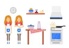 Gemütlicher moderner Küchenwandinnenraum stock abbildung