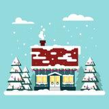 Gemütliches Haus des Winters mit Sitzen auf blauem Hintergrund Weihnachtszeit, guten Rutsch ins Neue Jahr - Vektorillustration Fl Stockbilder