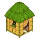 Gemütliches Haus gemacht vom Bambus und vom Stroh stock abbildung