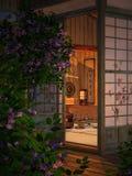 Gemütliches kleines Teehaus, 3d CG stockfoto