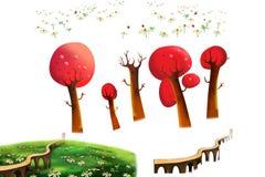 Gem Art Set: Röda träd, gräsland, bro som isoleras på vit bakgrund Royaltyfri Bild
