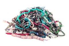 Gem beads pile stock photos