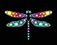 Gem Dragonfly. Dragonfly made of colored gems vector illustration