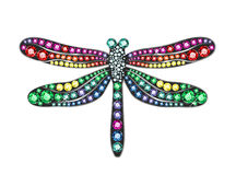 Gem Dragonfly. Dragonfly made of colored gems stock illustration