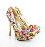 Gem Encrusted Golden Heels Stock Images