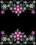 Gem Flowers Frame Stockfoto