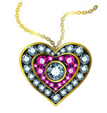 Gem Heart Pendant Stock Photography