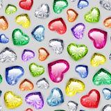 Gem Hearts Seamless Pattern colorido Imagen de archivo libre de regalías