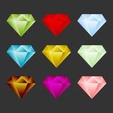 Gem Icon Set. Ressource ou emblème de jeu Photographie stock