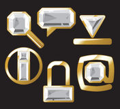 Gem icons with diamond Royalty Free Stock Photos