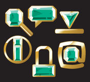 Gem icons with emerald Stock Images