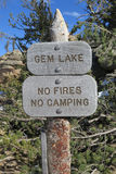 Gem Lake, Rocky Mountain National Park. The sign leading up to Gem Lake stock photography