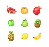 8 Bit Pixel Fruits Stock Images