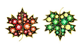 Gem Maple Leafs. Maple leafs made of colored gems vector illustration