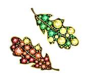 Gem Oak Leafs. Oak Leafs made of colored gems royalty free illustration