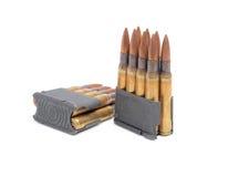 Gem och ammunitionar för M1 Garand på vit bakgrund Fotografering för Bildbyråer