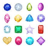 Gem Realistic Icon Set. With different sizes and colors ruby diamond sapphire vector illustration vector illustration