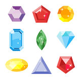 Gem set. Icon gem. Ruby, emerald, sapphire, diamond, brilliant, aquamarine different shapes, isolated on the white Stock Photography