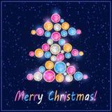 Gem Stone Christmas Tree Card variopinto Fotografia Stock Libera da Diritti