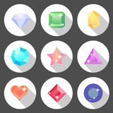 Gem stone flat color icons with long shadow Royalty Free Stock Image